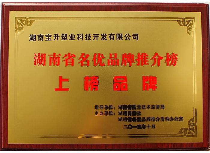 湖南省名优品牌推介榜上榜品牌