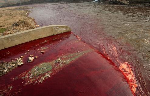 外媒:工厂废水将中国河流染成五颜六色