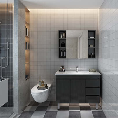 厂家直销 批发 简约风浴室柜落地卫生间洗漱台洗手盆洗脸柜YSG002